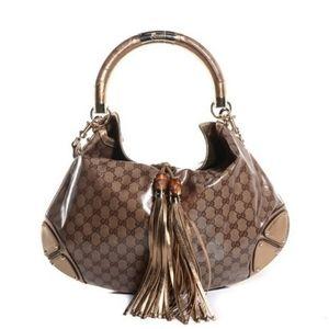 Gucci Bags - GUCCI BAMBOO INDY  HOBO CRYSTAL COATED GG LOGO BAG